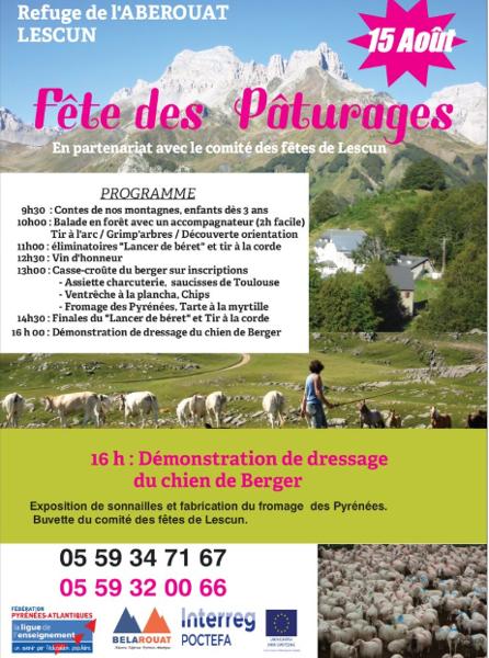 Fiesta del Pastoreo en el refugio de L'Abérouat el 15 de agosto.